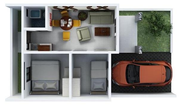 Model 3D Rumah Tipe 54