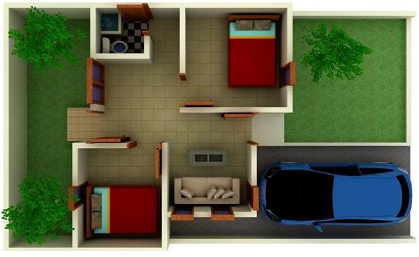 Model 3D Rumah Tipe 36